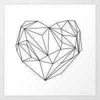 Heart Graphic (black On … Art Print