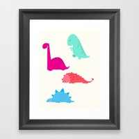 cute dinosaurs Framed Art Print