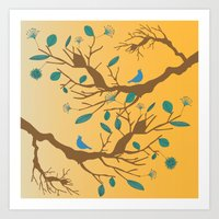 Birds on a branch 2 Art Print