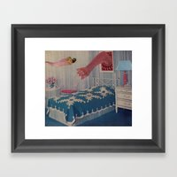 Blue Bed Framed Art Print