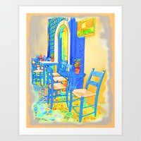 Greek Coffee Place Gold and Blue Art Print