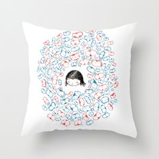 she mostly dreams in cats  Throw Pillow