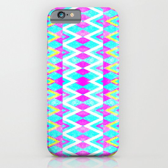 Neon Pink Teal Andes Aztec Triangle Yellow Pattern iPhone & iPod Case