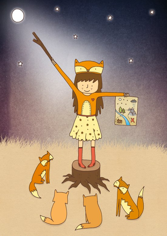 Little Fox Girl Art Print