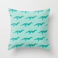 D for Dinosaur Origami Throw Pillow