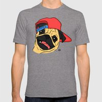 PUG THUG  Mens Fitted Tee Tri-Grey SMALL