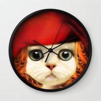 Kitten red riding  Wall Clock