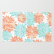 aqua and coral flowers Rug