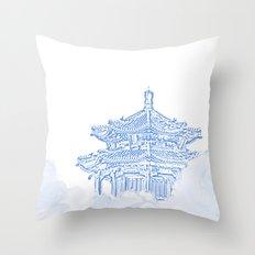 Zen temple in the cloud Throw Pillow