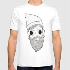 Beard Man SMALL Mens Fitted Tee White