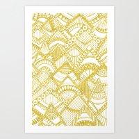 Golden Doodle mountains Art Print