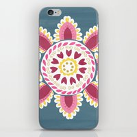 Suzani inspired floral blue 2 iPhone & iPod Skin