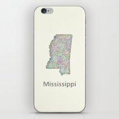 Mississippi map iPhone & iPod Skin