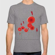 Flaming Poppies Mens Fitted Tee Tri-Grey SMALL