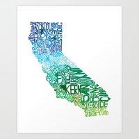 Typographic California -… Art Print