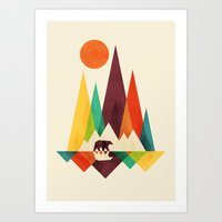 bear Art Prints featuring Bear In Whimsical Wild by Picomodi
