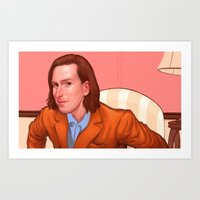 wes anderson Art Prints featuring Wes Anderson by Jacob Sanders