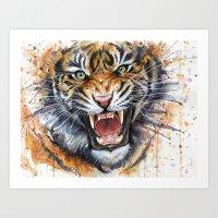 Tiger Watercolor Art Print
