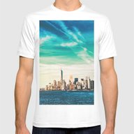NYC Skyline Mens Fitted Tee White SMALL