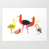 A gathering of birds Art Print