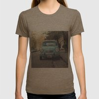 Mint - Blue Retro Fiat Car  Womens Fitted Tee Tri-Coffee SMALL