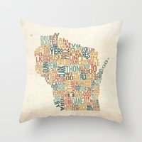 Wisconsin By County Throw Pillow