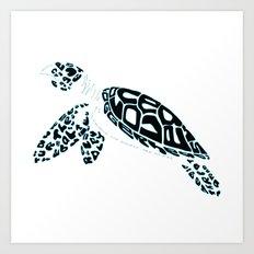Calligram Sea Turtle Art Print