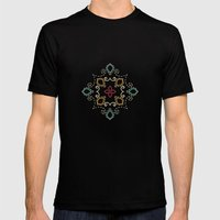Doodle damask composition Mens Fitted Tee Black SMALL