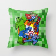 Funny Cute Cube Superher… Throw Pillow