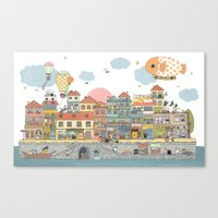 79 Cats In Harbor City Canvas Print