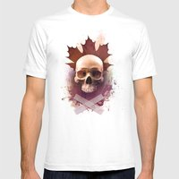 Skull And Leaf Mens Fitted Tee White SMALL