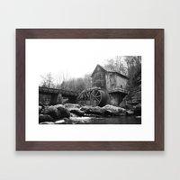 Glade Creek Grist Mill (B&W) Framed Art Print