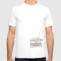 Cute hand drawn i love vintage typewriter illustration pattern Mens Fitted Tee White SMALL