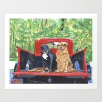 Antique Truck with Dogs Art Print