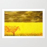 Cow In Yellow Field Art Print