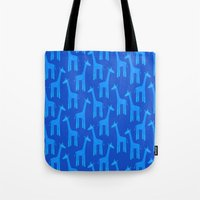 Giraffes-Blue Tote Bag