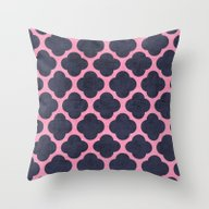 Pink And Navy Clover Throw Pillow