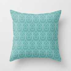 MCM Tulip Outline in Light Aqua Throw Pillow