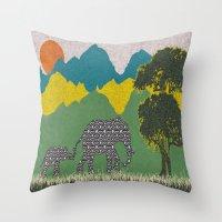 Elephant Park 3 Throw Pillow