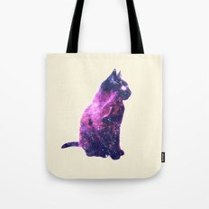 Whimsical Purple Nebula Cat Pink Galaxy Stars Tote Bag