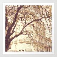 Between Branches (Retro … Art Print