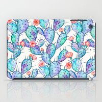 Rainbow Watercolor Cactus Pattern iPad Case