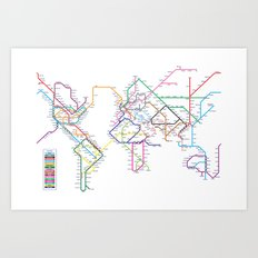 World Metro Subway Map Art Print