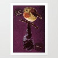 Bat and Robin Art Print