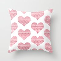 Patterned Hearts Pattern Throw Pillow