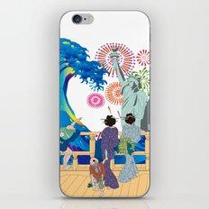 Hokusai People Seeing Big Wave,  Statue of Liberty & Fireworks iPhone & iPod Skin