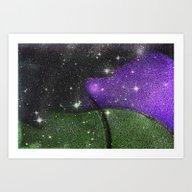 Purple Starry Eyed Dog Art Print