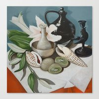 Kiwi Fruit & Lillies Canvas Print