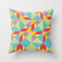Colorful Tangram Pattern Throw Pillow