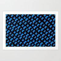 Gamer - Aqua On Black Art Print